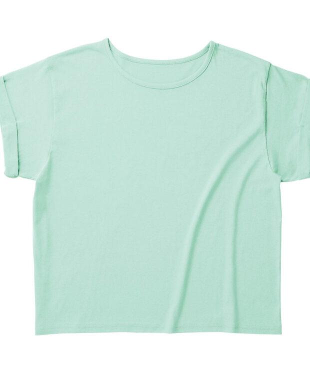 TRUSS WRU-806 ウィメンズ ロールアップ Tシャツ ライトミントグリーン